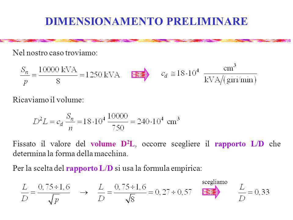 DIMENSIONAMENTO PRELIMINARE Ricaviamo : Ricaviamo D e L : Esistono diagrammi empirici che forniscono il valore di B M in funzione del passo polare.