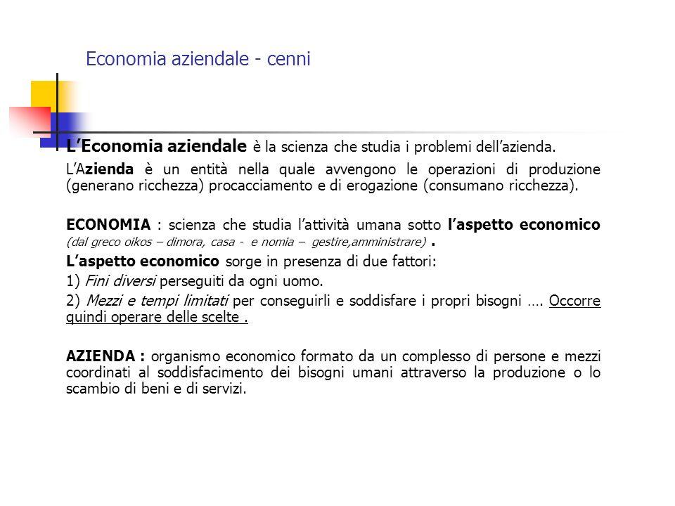 Economia aziendale - cenni LEconomia aziendale è la scienza che studia i problemi dellazienda. LAzienda è un entità nella quale avvengono le operazion