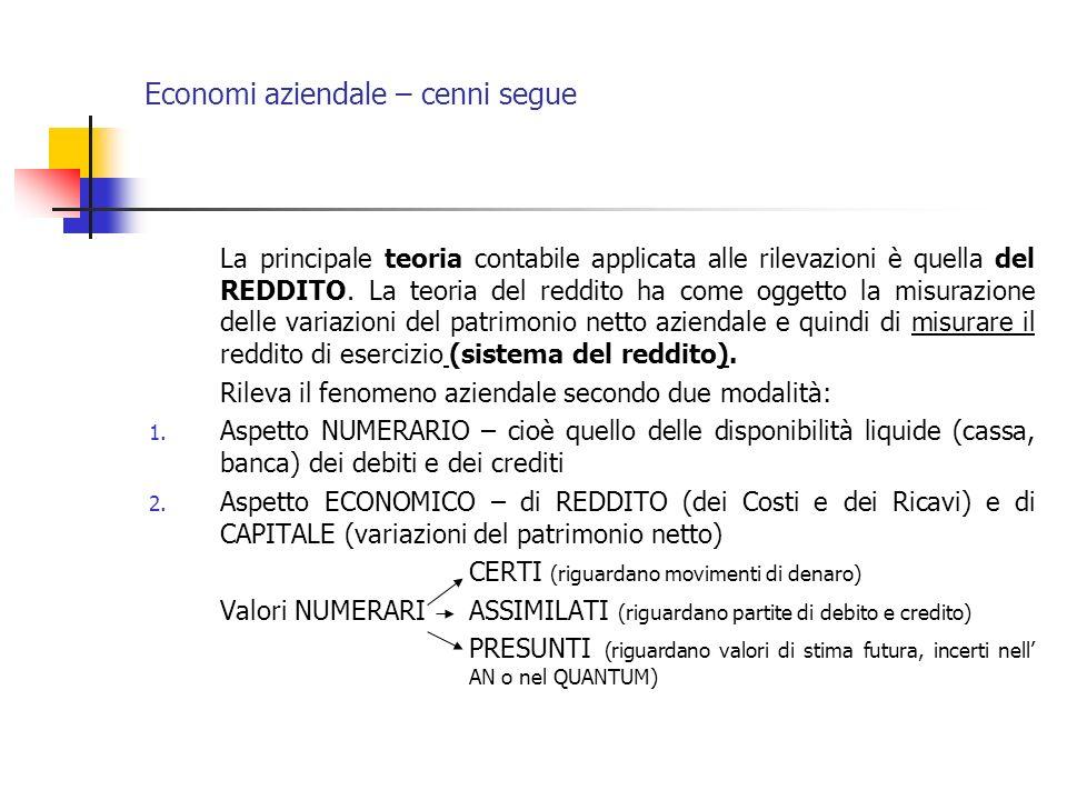 Economi aziendale – cenni segue La principale teoria contabile applicata alle rilevazioni è quella del REDDITO. La teoria del reddito ha come oggetto