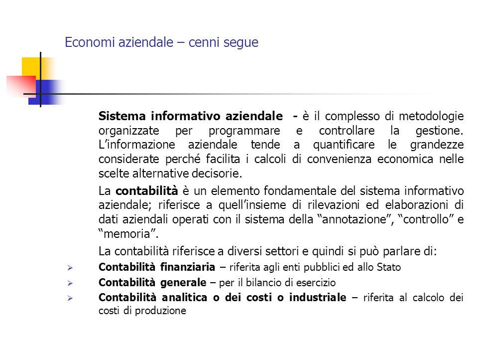 Economi aziendale – cenni segue Sistema informativo aziendale - è il complesso di metodologie organizzate per programmare e controllare la gestione. L