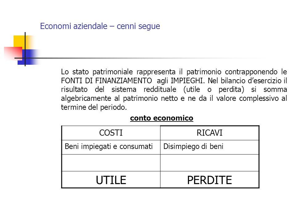 Economi aziendale – cenni segue Lo stato patrimoniale rappresenta il patrimonio contrapponendo le FONTI DI FINANZIAMENTO agli IMPIEGHI. Nel bilancio d