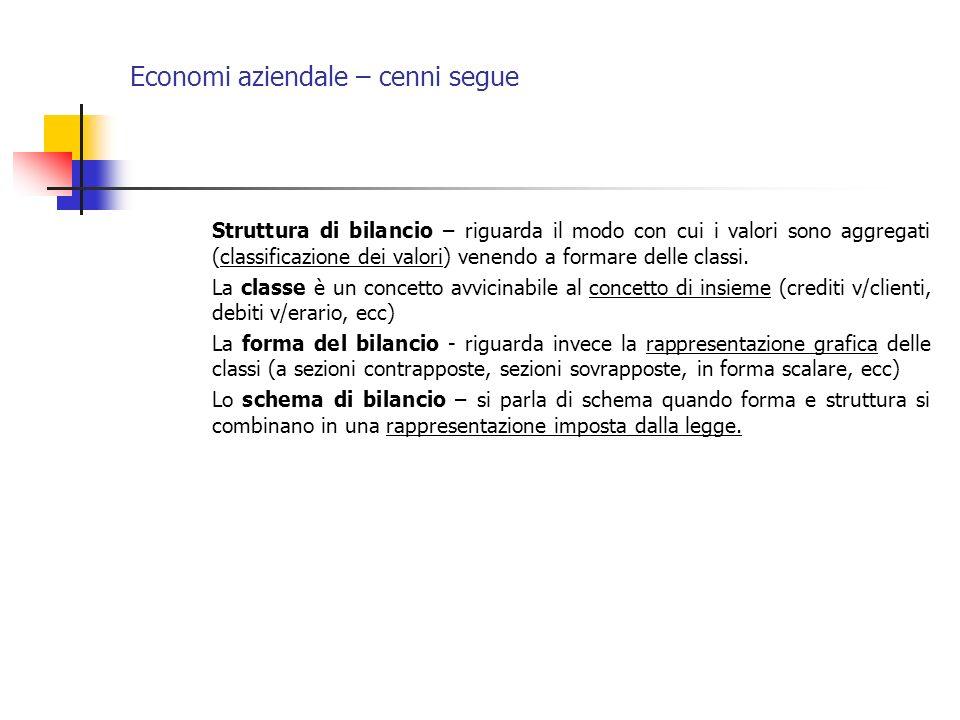 Economi aziendale – cenni segue Struttura di bilancio – riguarda il modo con cui i valori sono aggregati (classificazione dei valori) venendo a formar