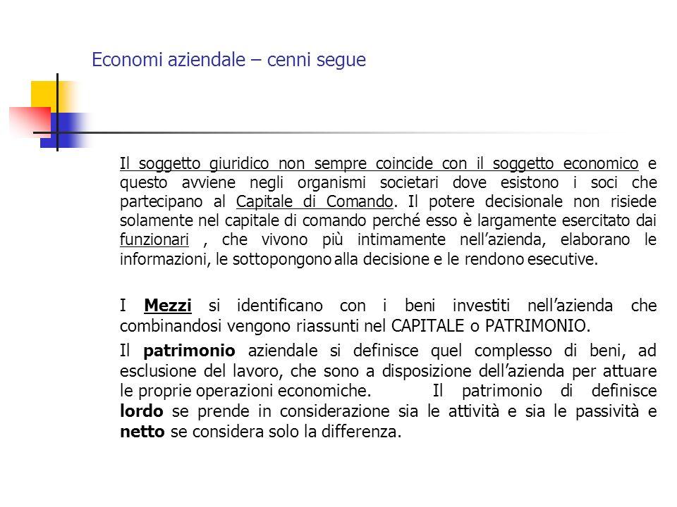 Economi aziendale – cenni segue Il soggetto giuridico non sempre coincide con il soggetto economico e questo avviene negli organismi societari dove es