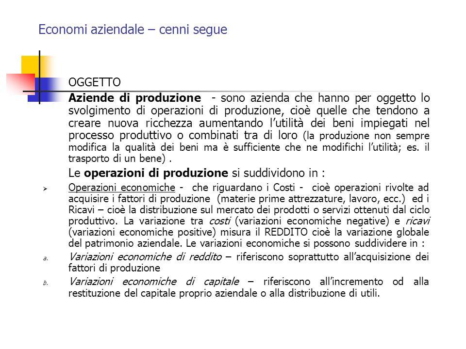 Economi aziendale – cenni segue OGGETTO Aziende di produzione - sono azienda che hanno per oggetto lo svolgimento di operazioni di produzione, cioè qu