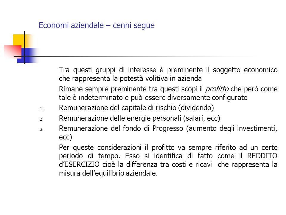 Economi aziendale – cenni segue Tra questi gruppi di interesse è preminente il soggetto economico che rappresenta la potestà volitiva in azienda Riman