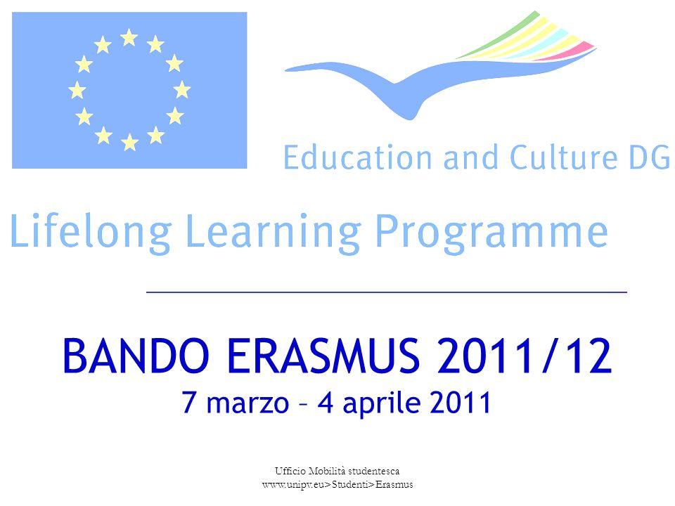 Ufficio Mobilità studentesca www.unipv.eu>Studenti>Erasmus BANDO ERASMUS 2011/12 7 marzo – 4 aprile 2011