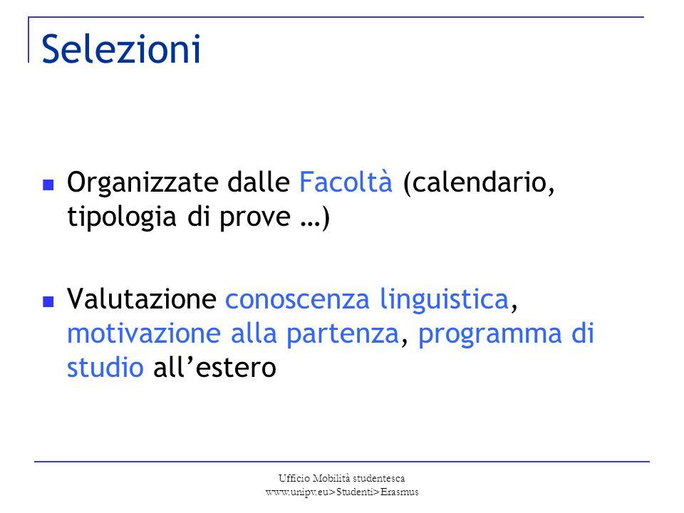 Ufficio Mobilità studentesca www.unipv.eu>Studenti>Erasmus Selezioni Organizzate dalle Facoltà (calendario, tipologia di prove …) Valutazione conoscen