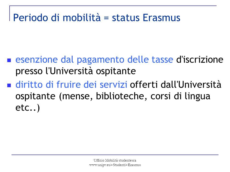 Ufficio Mobilità studentesca www.unipv.eu>Studenti>Erasmus Periodo di mobilità = status Erasmus esenzione dal pagamento delle tasse d'iscrizione press