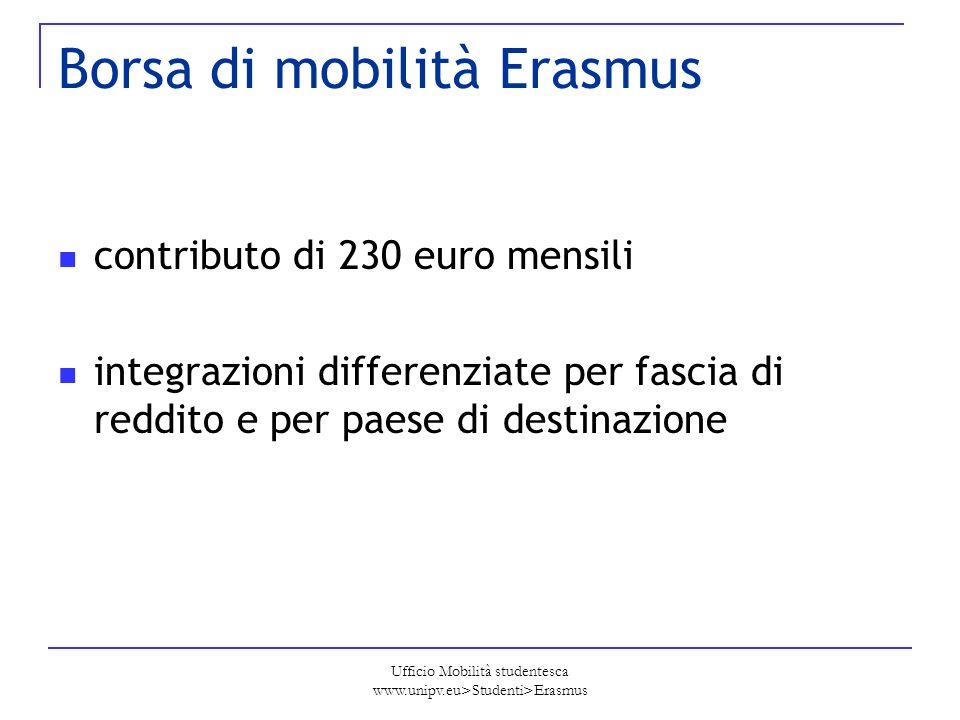 Ufficio Mobilità studentesca www.unipv.eu>Studenti>Erasmus Borsa di mobilità Erasmus contributo di 230 euro mensili integrazioni differenziate per fas
