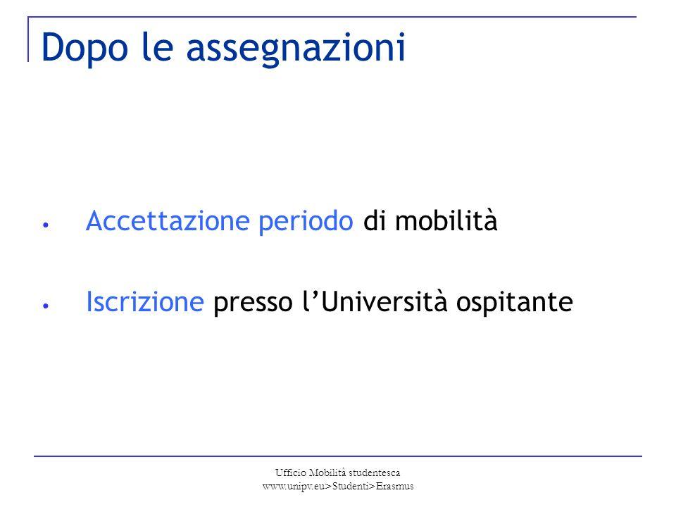 Ufficio Mobilità studentesca www.unipv.eu>Studenti>Erasmus Dopo le assegnazioni Accettazione periodo di mobilità Iscrizione presso lUniversità ospitan