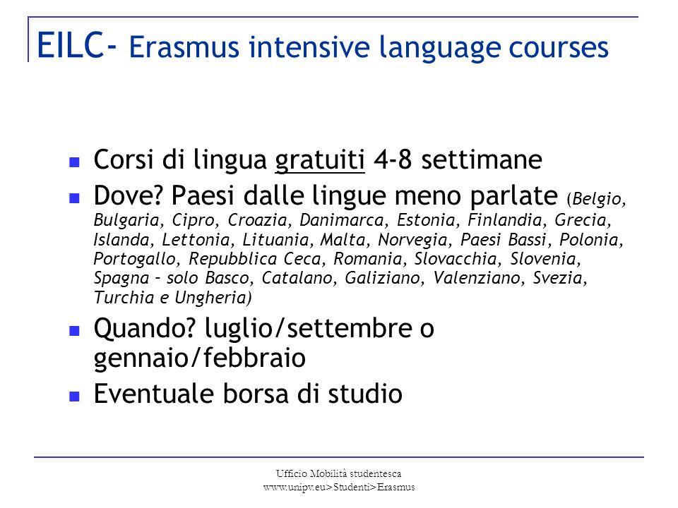 Ufficio Mobilità studentesca www.unipv.eu>Studenti>Erasmus EILC- Erasmus intensive language courses Corsi di lingua gratuiti 4-8 settimane Dove? Paesi