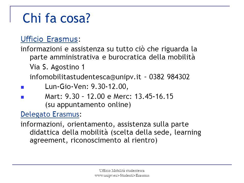 Ufficio Mobilità studentesca www.unipv.eu>Studenti>Erasmus Chi fa cosa? Ufficio Erasmus: informazioni e assistenza su tutto ciò che riguarda la parte