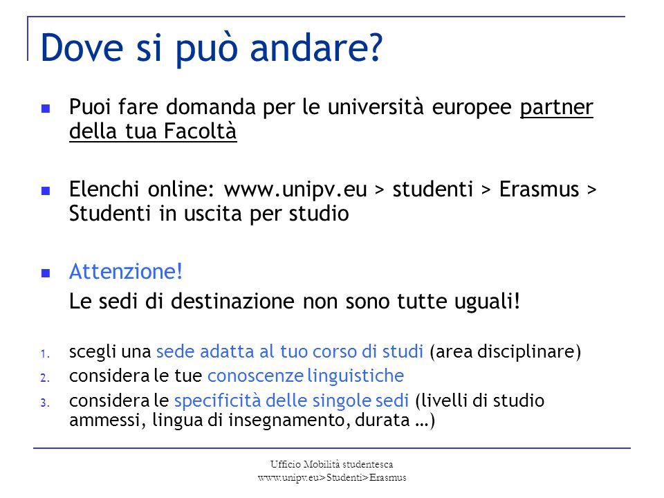 Ufficio Mobilità studentesca www.unipv.eu>Studenti>Erasmus Dove si può andare? Puoi fare domanda per le università europee partner della tua Facoltà E