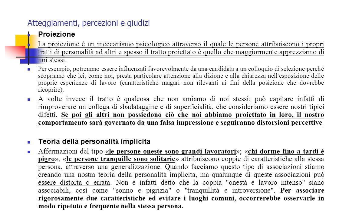 Atteggiamenti, percezioni e giudizi Proiezione La proiezione è un meccanismo psicologico attraverso il quale le persone attribuiscono i propri tratti