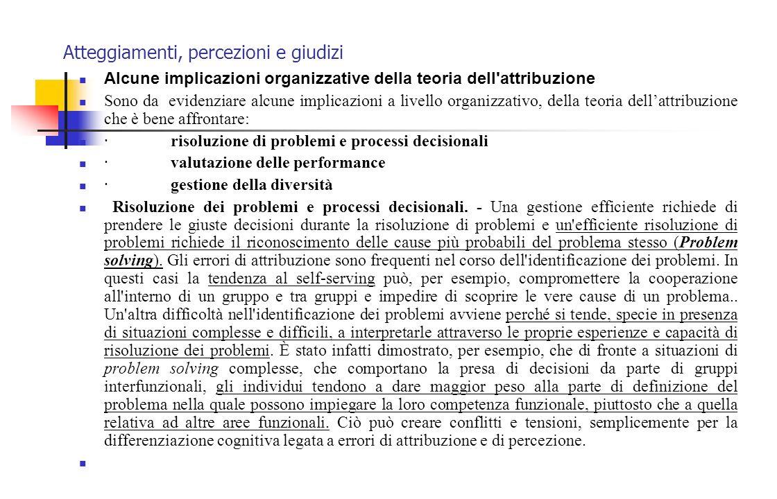 Atteggiamenti, percezioni e giudizi Alcune implicazioni organizzative della teoria dell'attribuzione Sono da evidenziare alcune implicazioni a livello