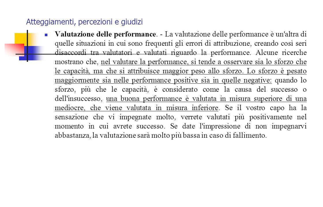 Atteggiamenti, percezioni e giudizi Valutazione delle performance. - La valutazione delle performance è un'altra di quelle situazioni in cui sono fre