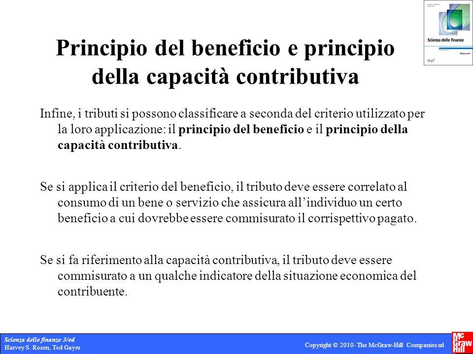 Scienza delle finanze 3/ed Harvey S. Rosen, Ted Gayer Copyright © 2010- The McGraw-Hill Companies srl Principio del beneficio e principio della capaci