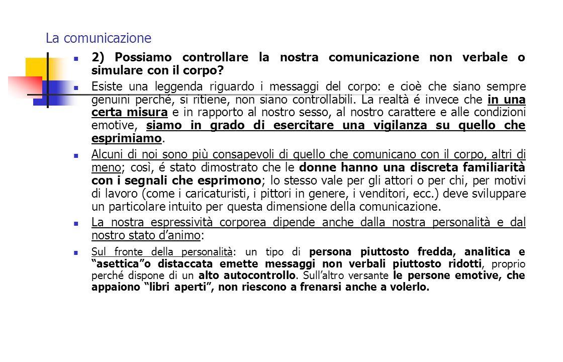 La comunicazione 2) Possiamo controllare la nostra comunicazione non verbale o simulare con il corpo? Esiste una leggenda riguardo i messaggi del corp