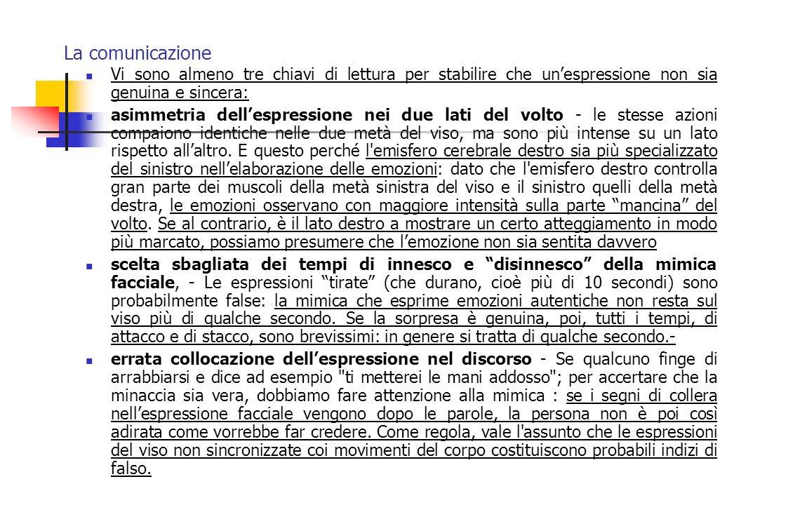 La comunicazione Vi sono almeno tre chiavi di lettura per stabilire che unespressione non sia genuina e sincera: asimmetria dellespressione nei due la