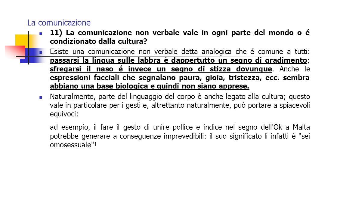 La comunicazione 11) La comunicazione non verbale vale in ogni parte del mondo o é condizionato dalla cultura? Esiste una comunicazione non verbale de