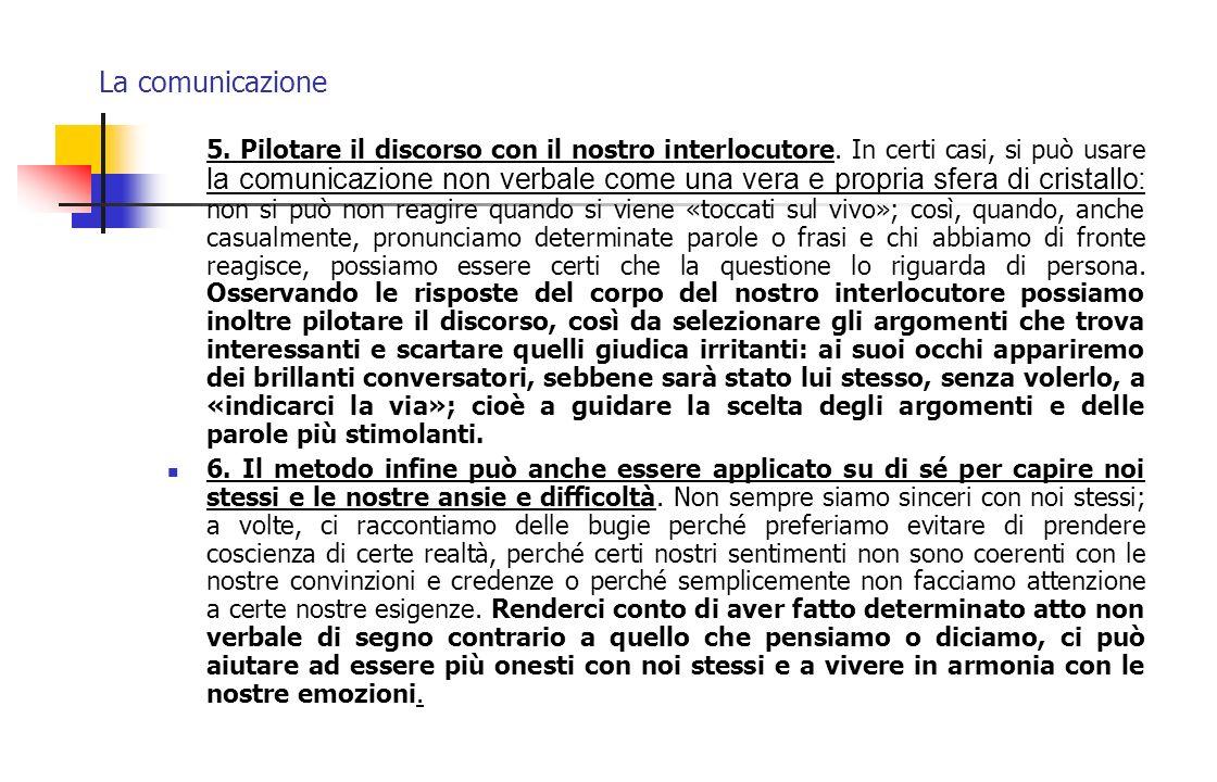 La comunicazione 5. Pilotare il discorso con il nostro interlocutore. In certi casi, si può usare la comunicazione non verbale come una vera e propria