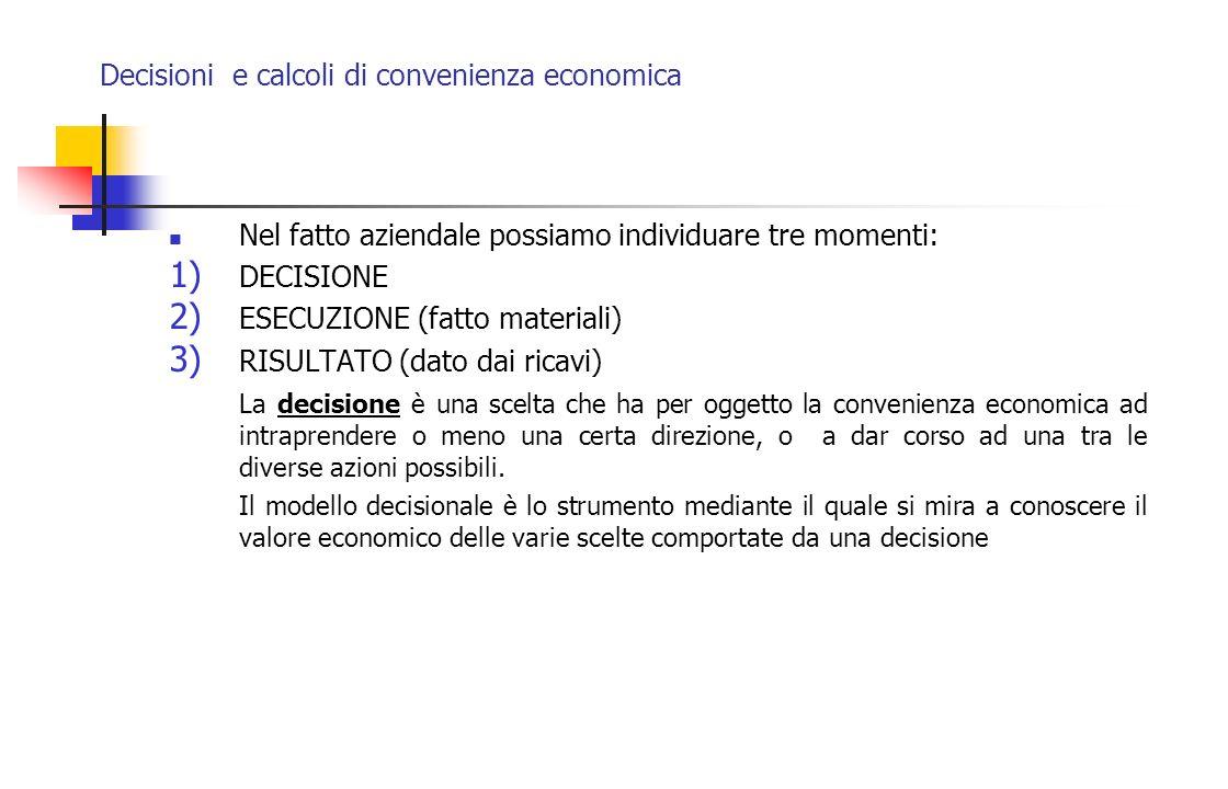 Decisioni e calcoli di convenienza economica Nel fatto aziendale possiamo individuare tre momenti: 1) DECISIONE 2) ESECUZIONE (fatto materiali) 3) RIS