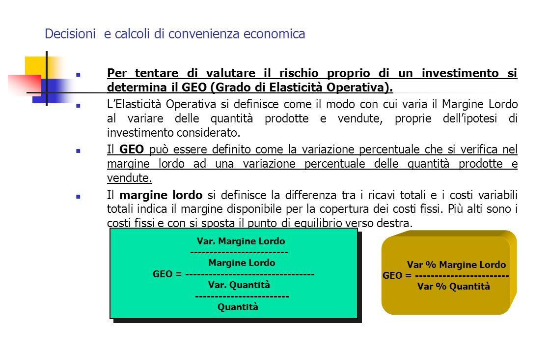 Decisioni e calcoli di convenienza economica Per tentare di valutare il rischio proprio di un investimento si determina il GEO (Grado di Elasticità Op