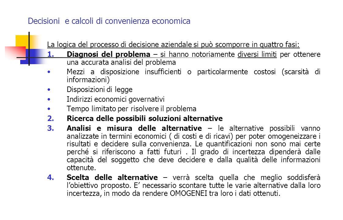 Decisioni e calcoli di convenienza economica Sconto semplice – direttamente proporzionato al tempo di anticipazione al capitale ed al tasso.