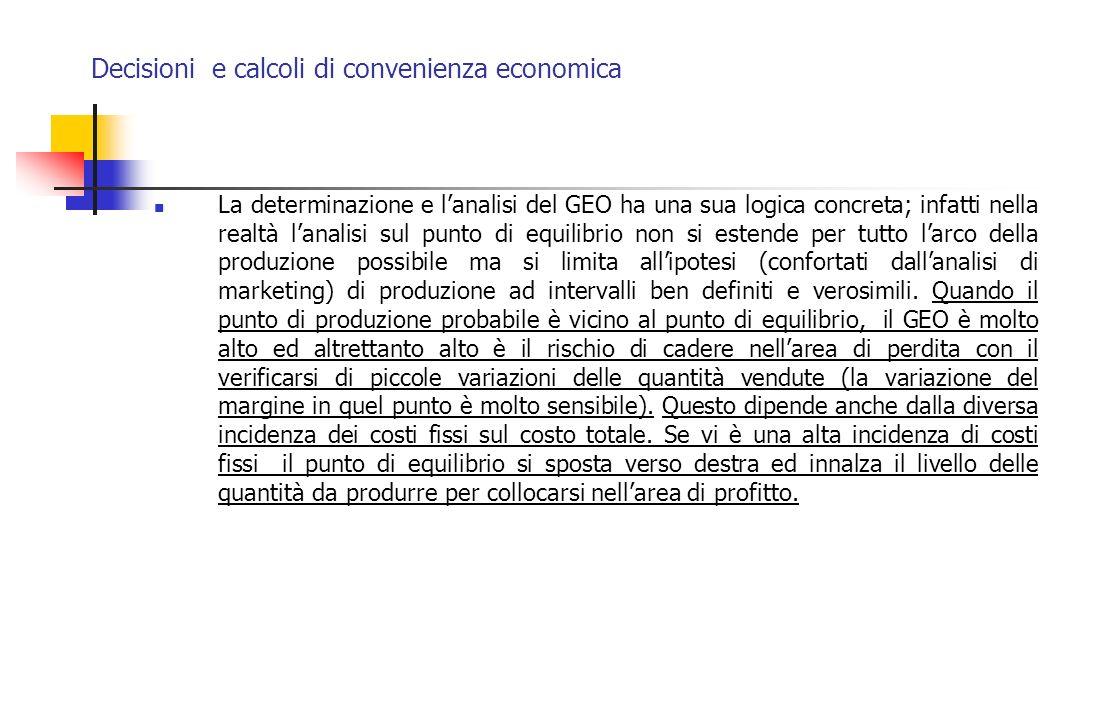 Decisioni e calcoli di convenienza economica La determinazione e lanalisi del GEO ha una sua logica concreta; infatti nella realtà lanalisi sul punto