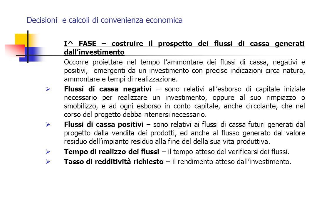 Decisioni e calcoli di convenienza economica I^ FASE – costruire il prospetto dei flussi di cassa generati dallinvestimento Occorre proiettare nel tem