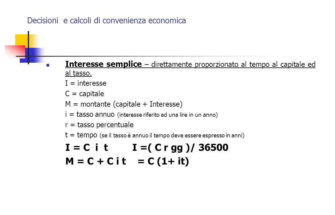 Decisioni e calcoli di convenienza economica Interesse semplice – direttamente proporzionato al tempo al capitale ed al tasso. I = interesse C = capit