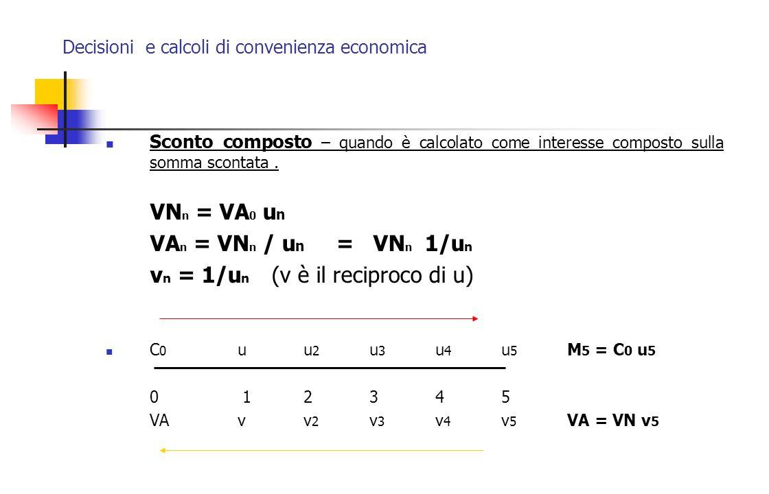 Decisioni e calcoli di convenienza economica Sconto composto – quando è calcolato come interesse composto sulla somma scontata. VN n = VA 0 u n VA n =