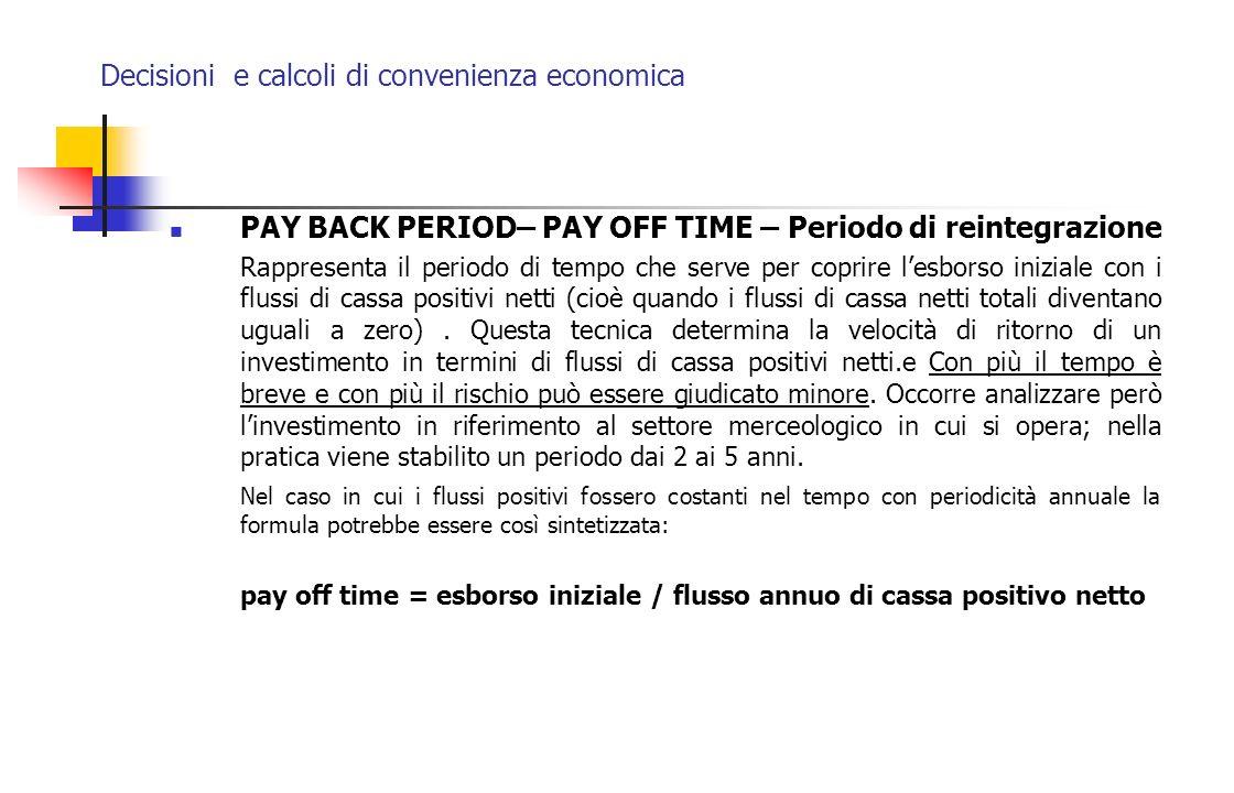 Decisioni e calcoli di convenienza economica PAY BACK PERIOD– PAY OFF TIME – Periodo di reintegrazione Rappresenta il periodo di tempo che serve per c