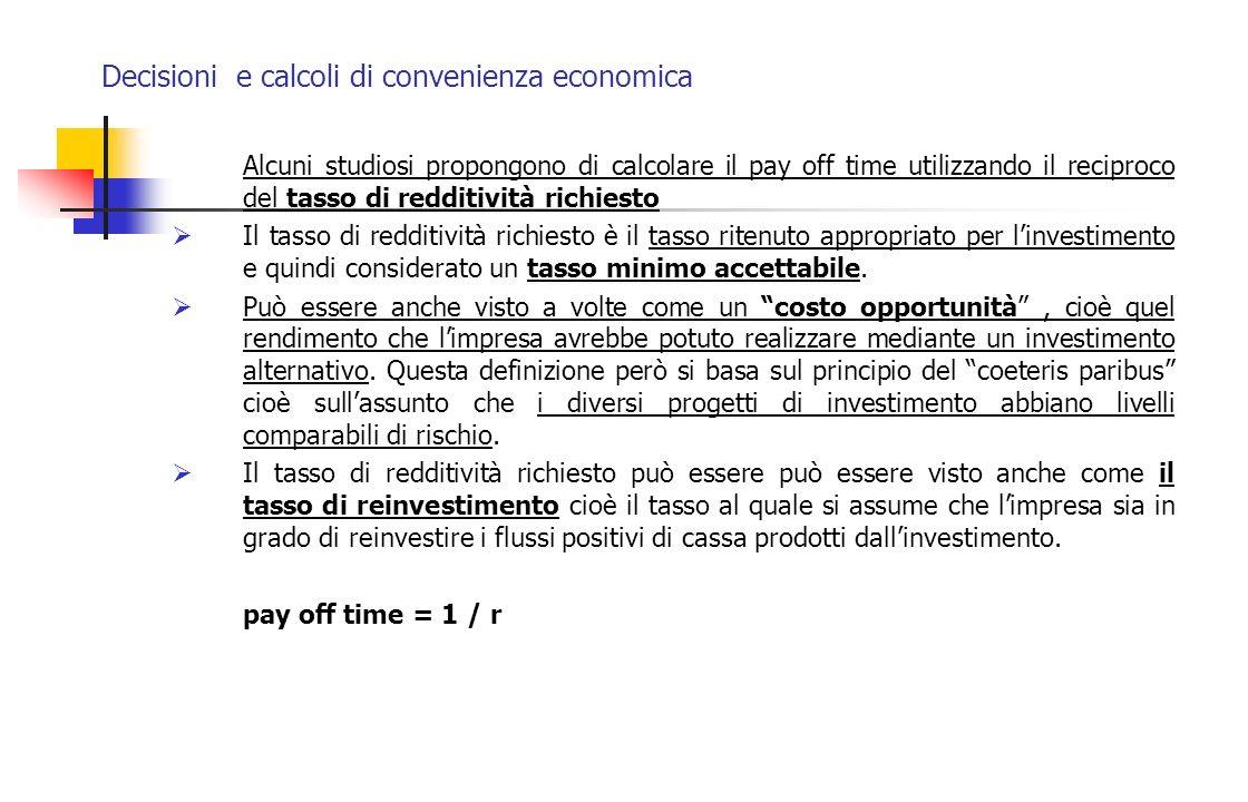 Decisioni e calcoli di convenienza economica Alcuni studiosi propongono di calcolare il pay off time utilizzando il reciproco del tasso di redditività