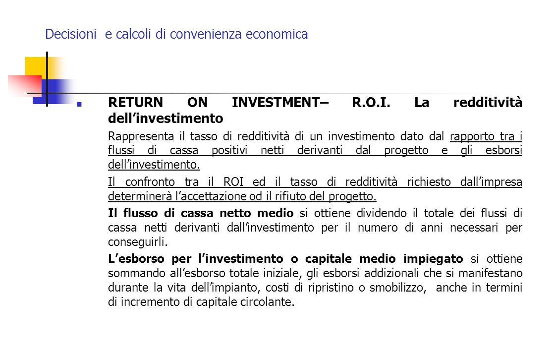Decisioni e calcoli di convenienza economica RETURN ON INVESTMENT– R.O.I. La redditività dellinvestimento Rappresenta il tasso di redditività di un in