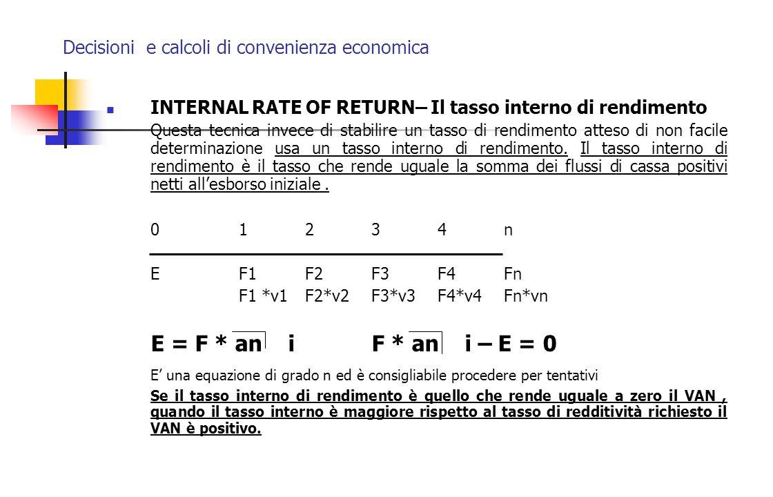 Decisioni e calcoli di convenienza economica INTERNAL RATE OF RETURN– Il tasso interno di rendimento Questa tecnica invece di stabilire un tasso di re