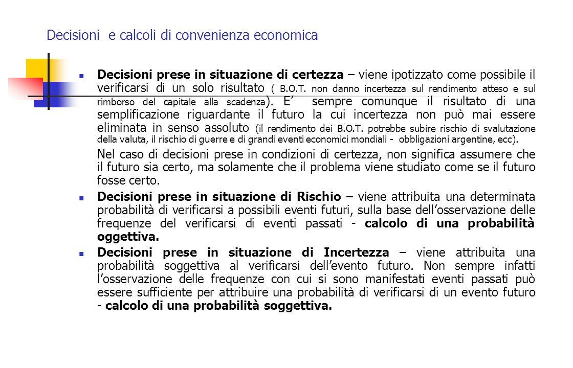 Decisioni e calcoli di convenienza economica Decisioni prese in situazione di certezza – viene ipotizzato come possibile il verificarsi di un solo ris