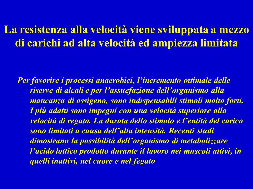 Per favorire i processi anaerobici, lincremento ottimale delle riserve di alcali e per lassuefazione dellorganismo alla mancanza di ossigeno, sono indispensabili stimoli molto forti.