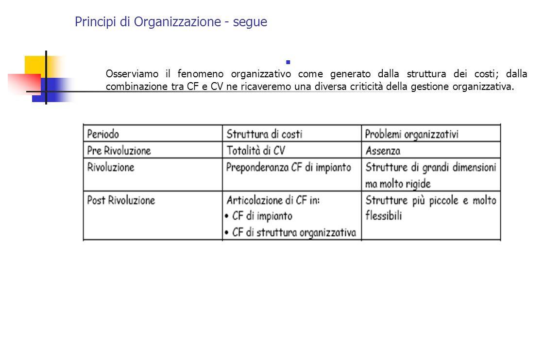 Principi di Organizzazione - segue Osserviamo il fenomeno organizzativo come generato dalla struttura dei costi; dalla combinazione tra CF e CV ne ric