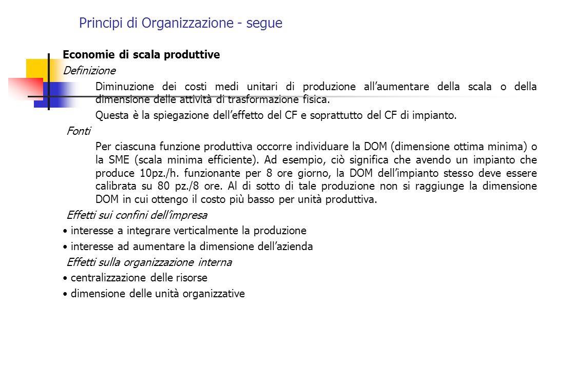 Principi di Organizzazione - segue Economie di scala produttive Definizione Diminuzione dei costi medi unitari di produzione allaumentare della scala