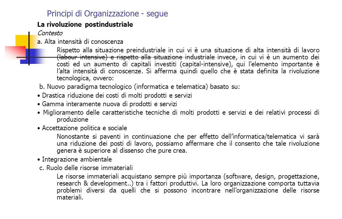Principi di Organizzazione - segue La rivoluzione postindustriale Contesto a. Alta intensità di conoscenza Rispetto alla situazione preindustriale in