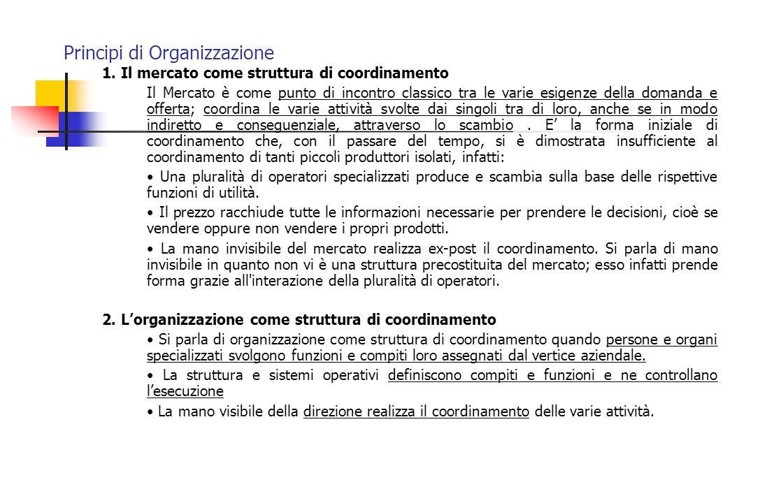 Principi di Organizzazione - segue Tabella riepilogativa sulle varie configurazioni Configurazione organizzativa Meccanismo principale di coordinamento Parte fondamentale della organizzazione Tipi di decentramento Struttura sempliceSupervisione Diretta Vertice strategico Accentramento Verticale e orizzontale Burocrazia meccanica Standardizzazione dei processi di lavoro TecnostrutturaDecentramento Orizzontale limitato Burocrazia professionale Standardizzazione delle capacità Nucleo operativo Decentramento Verticale e Orizzontale Soluzione divisionale Standardizzazione degli output Linea intermedia Decentramento verticale limitato Ad hocReciproco adattamento Staff di supporto Decentramento selettivo