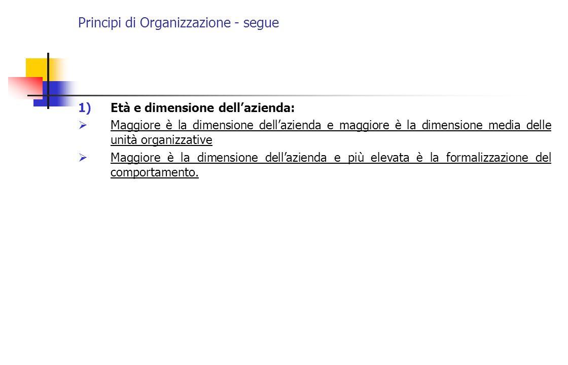 Principi di Organizzazione - segue 1)Età e dimensione dellazienda: Maggiore è la dimensione dellazienda e maggiore è la dimensione media delle unità o