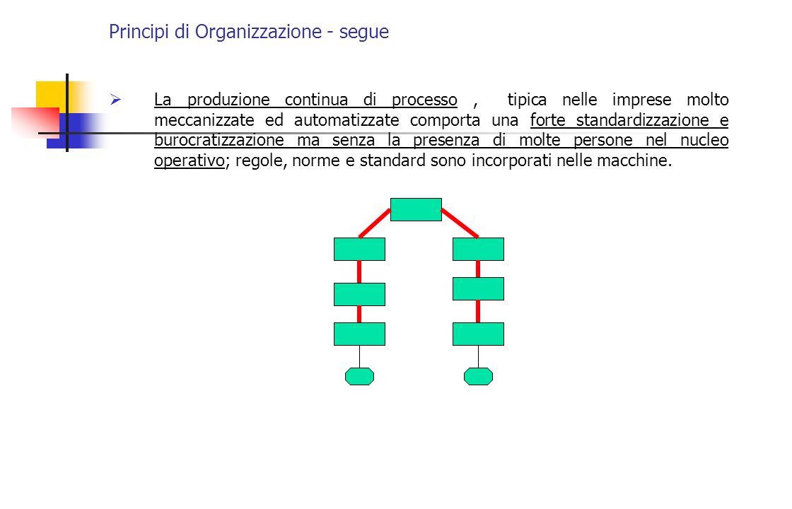 Principi di Organizzazione - segue La produzione continua di processo, tipica nelle imprese molto meccanizzate ed automatizzate comporta una forte sta
