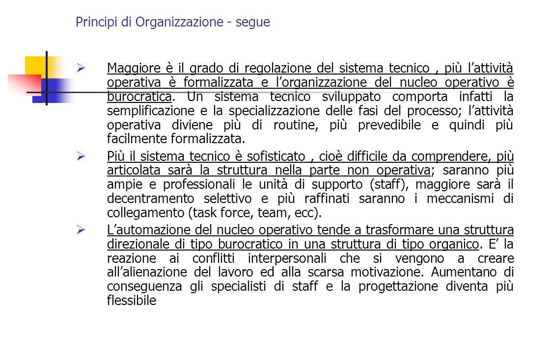 Principi di Organizzazione - segue Maggiore è il grado di regolazione del sistema tecnico, più lattività operativa è formalizzata e lorganizzazione de