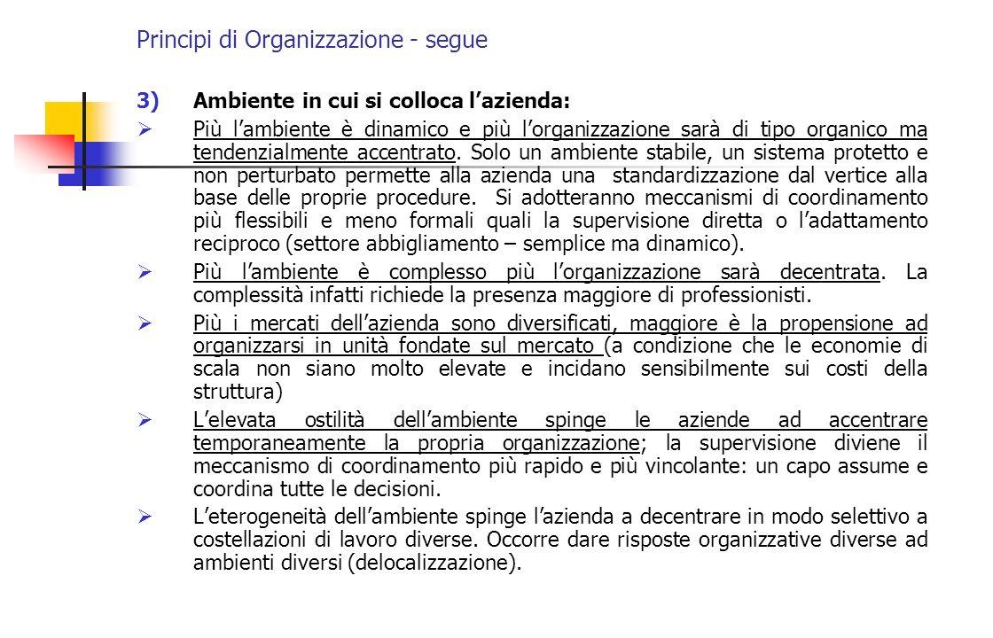 Principi di Organizzazione - segue 3)Ambiente in cui si colloca lazienda: Più lambiente è dinamico e più lorganizzazione sarà di tipo organico ma tend