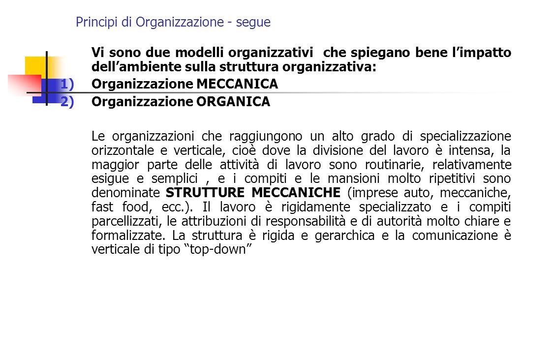 Principi di Organizzazione - segue Vi sono due modelli organizzativi che spiegano bene limpatto dellambiente sulla struttura organizzativa: 1)Organizz