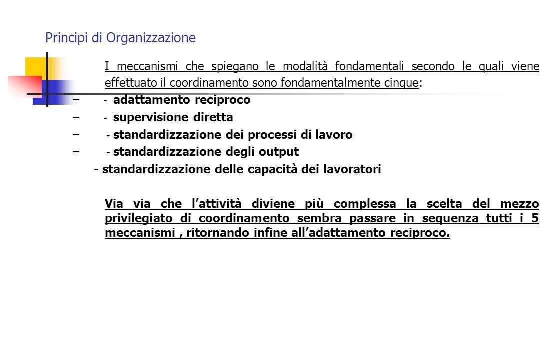 Principi di Organizzazione I meccanismi che spiegano le modalità fondamentali secondo le quali viene effettuato il coordinamento sono fondamentalmente