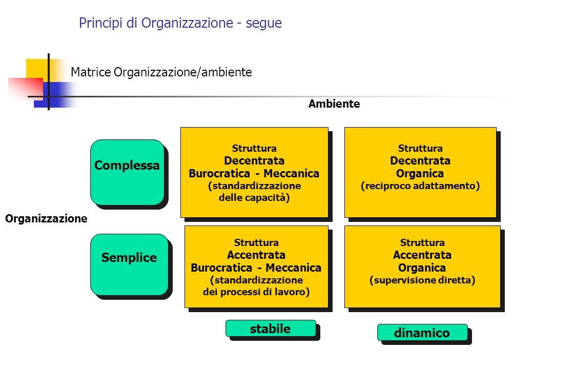 Principi di Organizzazione - segue Matrice Organizzazione/ambiente Struttura Decentrata Burocratica - Meccanica (standardizzazione delle capacità) Str