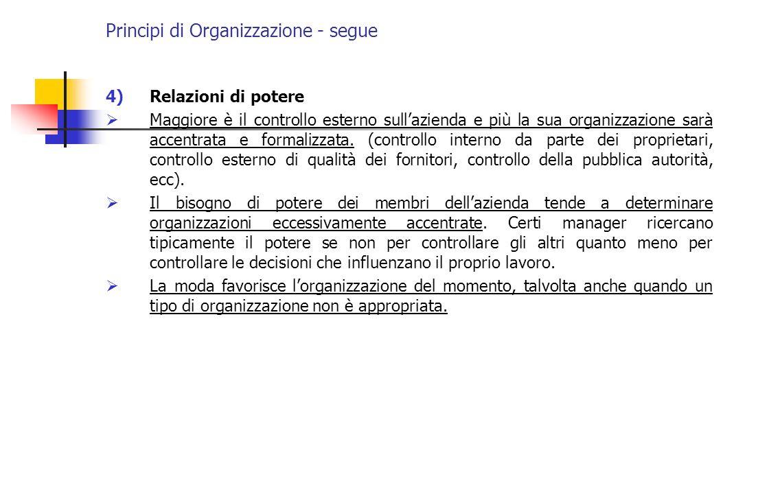 Principi di Organizzazione - segue 4)Relazioni di potere Maggiore è il controllo esterno sullazienda e più la sua organizzazione sarà accentrata e for